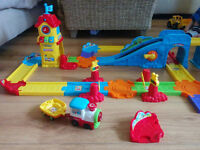Big bundle of Vtech toys. Toot toot garage, train station, car carrier + cars and train