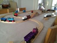 Thomas the Tank engine wooden track & trains in storage box