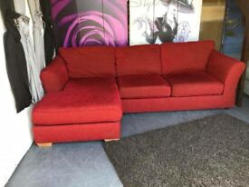Marks and Spencer Abbey Left Hand Corner Chaise Sofa with SofaBed and Storage Upholstered In Red