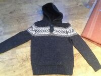 A BOYS FAT FACE KNIT STYLE GREY HOODED JUMPER WITH FLEECE HOOD AGE 10-11 YRS GOOD CONDITION