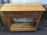 Slim solid wooden 2 draw unit / hallway table / storage table