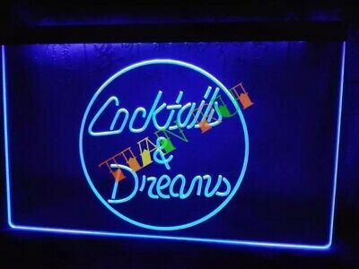 Cocktails and Dreams LED Neon Bar Sign Home Light up film Pub...