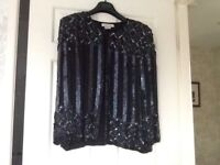 LADIES BLACK SEQUINNED EVENING JACKET SIZE 10/12