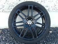 18INCH 5/100 RS4 BLACK ALLOY WHEELS WITH TYRES FIT VW SEAT ETC