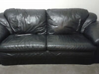 Large 3 seater Black Leather sofa - Extremely corfortable/good condition - £500 new!!!