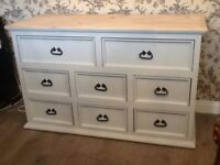 large shabby chic pine merchants style chest of drawers