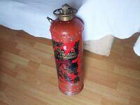 vintage large fire extinguisher.brass top.