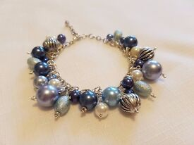 Cluster bracelet beautiful pale blue dangling beads extender chain Silver plate