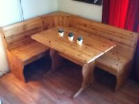 Solid Pine Breakfast Nook and Table