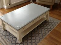 White & grey occasional table with two drawers and shelf