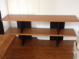 Beech effect substantial shelving unit/open ended bookcase.