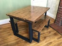 Handmade New Farmhouse Reclaimed Dining Table and 2x Bench 120cm x 88cm Free Delivery