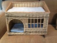 Two tier wicker cat bed/basket with two cushions