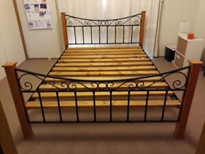 Queen size wood and metal bed frame for sale