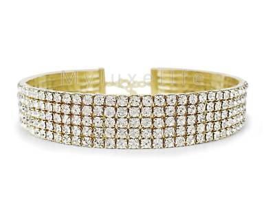 Gold Rhinestone Choker Necklace 5 Row Austrian Crystal Diamond Elements