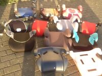 Booster seats for 25kg to 36kg child(7/8 yrs to 12yrs)all covers and bases washed-£5,£7 and £10 each