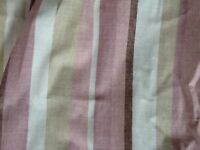 Laura Ashley Awning Stripe Chalk Pink Curtains, one pair floor length