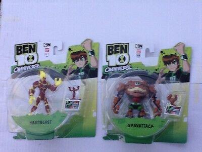 2 x Ben 10 Action Figures OMNIVERSE - HEATBLAST &  GRAVATTACK Boxed & Sealed