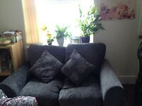 Set of 2 Dark Grey Velvet Fabric 2 Seater Next Sofas/Settees