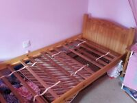 single Solid Pine Wood Bed Frame with mattress choice of two