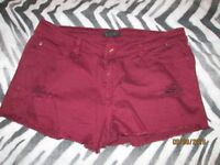 BURGUNDY SHORTS FOREVER 21 SIZE 16/18 HOLIDAY OR CLUBBING HAVE MORE SHORTS FOR SALE