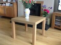 Coffee table, oak effect.size 55x55x45height cm.excellent condition, easily assembled. £20.