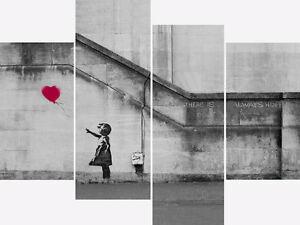 Large Banksy Canvas Print Pink Balloon Girl Wall Art Split Multi 4 Panel Picture