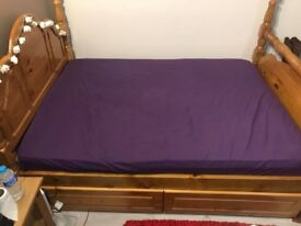 Solid Pine Double Bed with Mattress & 2 Drawers