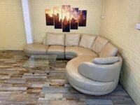 Spaciously Large Cream Leather Corner Sofa