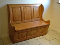3 seater pine monks bench