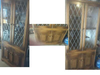PLEASE RING OR TEXT FIRST BEAUTIFUL SOLID WOOD LARGE CORNER DISPLAY CABINET SIZE/DETAILS BELOW