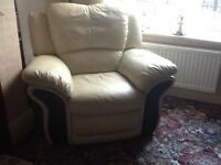 Leather Chair and foot stool for sale in Bamford Hope Valkey