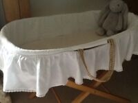 Beautiful Moses basket and stand with John Lewis mattress