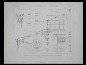 PARIS, MARCHE DE LA CHAPELLE - 1886 - PLANCHE ARCHITECTURE - AUGUSTE MAGNE - France - Thme: Architecture Période: XIXme et avant - France