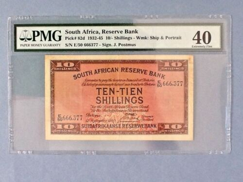 South Africa P-82d; 10 Shillings ; 1940; PMG Graded 40