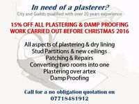 15% off all plastering and damp proofing work - Christmas offer