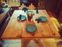 Dining Table Antique Pine and Rustic Chunky Legs