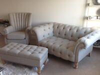 Two seater settee, chair and footstool