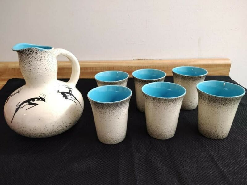 MCM Black Hills of SD hand painted/designed pottery pitcher and 6 glass set