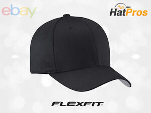 NEW-Original-FLEXFIT-Baseball-Fitted-Hat-Cap-Black-5001