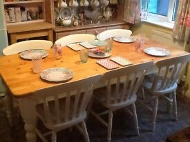Solid pine shabby chic farmhouse style table with 6 chairs