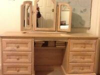 Limed oak dressing table with separate matching mirror