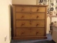 Chest of drawers large old pine