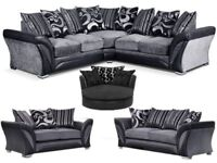 BRAND NEW CHENILLE FABRIC SHANNON CORNER SOFA OR 3+2 SEATER SUITE SWIVEL CHAIR ROUND 360 TURNING