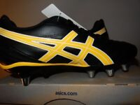 BRAND NEW Asics Mens Lethal Scrum Rugby Boots Black & Yellow 9 UK