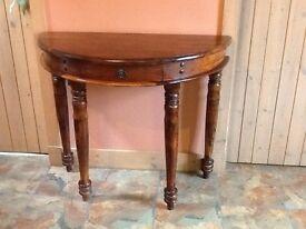 Dark hardwood Half moon console table