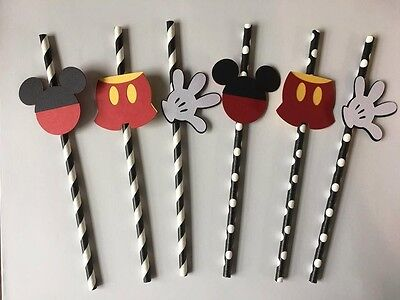 Mickey Mouse Paper Straws. Set of 12. Great for birthday parties.  - Mickey Mouse For Birthday Party