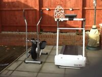 Treadmill and cross trainer