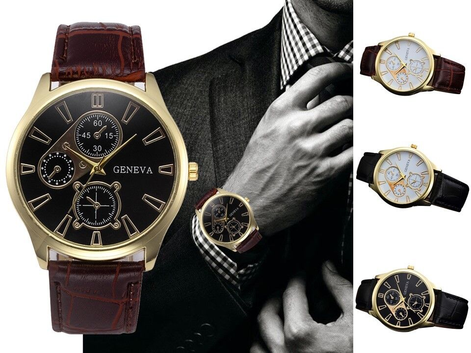 New Geneva Mens Stainless Steel Leather Analog Quartz Gents Wrist Watch UK