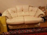 Italian Leather 3 piece suite sofa and two chairs
